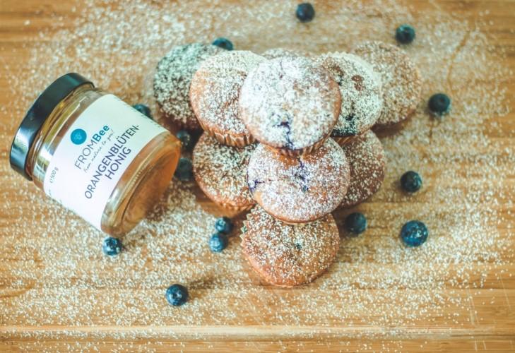 blaubeer muffins honig frombee orangenblüten