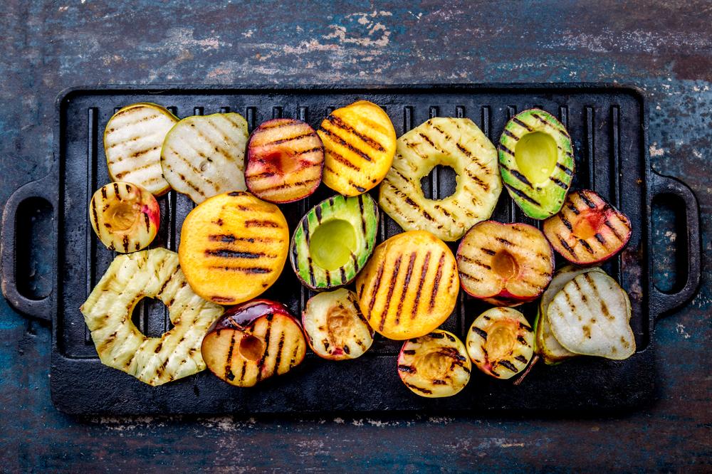 grill obst honig geröstet avocado pfirsich birne ananas mango