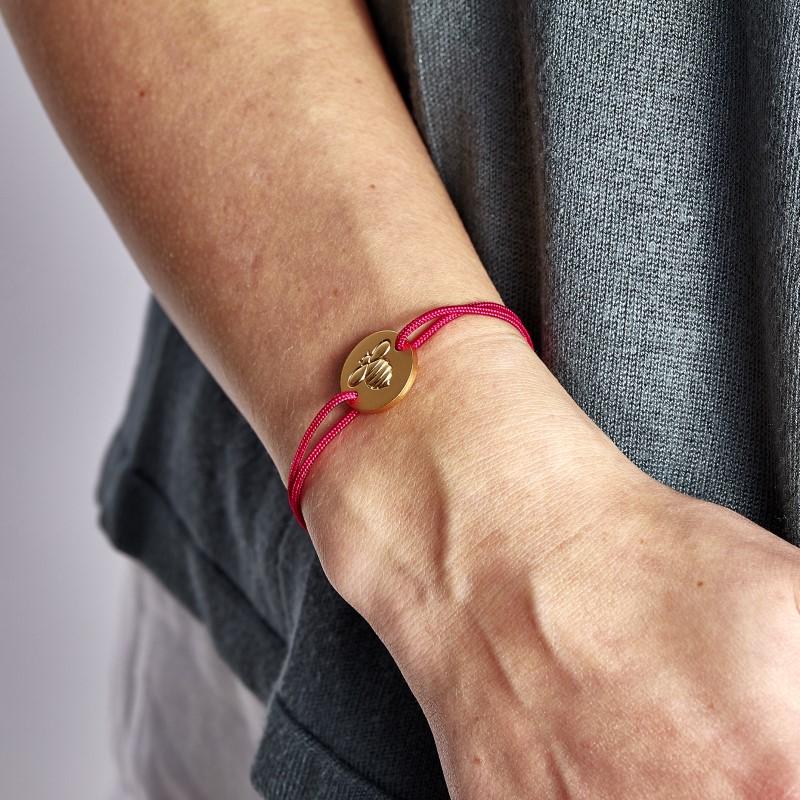 Frombee, Armband, Biene, Gold, pink, rosa, handarbeit, guter zweck, Handgelenk